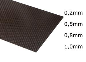 f521 0,5 mm min reine CFK Carbon Kohlefaser Platte 32 cm x 5 cm