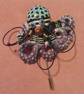 Whimsical Handcrafted Porcelain Octopus Stick Pin