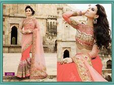 Heavy Real Pearl And Stone Work Row Silk Net Orange Designer Ethnic Saree