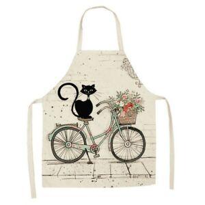 Tablier - Chat / vélo [dessin] - Lin / coton - 53 cm x 65 cm - Neuf !!!