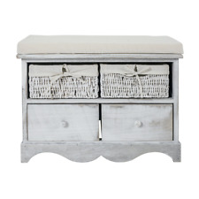 Mobili Rebecca® Bench 2 Wood  2 Wicker Drawers Grey Pillow Shabby Kitchen Hall