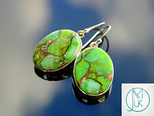 Green Copper Turquoise Natural Gemstone 925 Sterling Silver Earrings Quartz