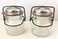 Vintage 1893 FP #1 Wire Bale Glass Jar Salt And Pepper Shaker Set