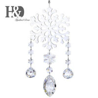 Clear Crystal Suncatcher Snowflake Decor Drop Prisms Window Hanging Ornament