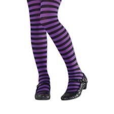 Kids Girls Purple Black Striped Wicked Witch Halloween Tights Costume Hosiery