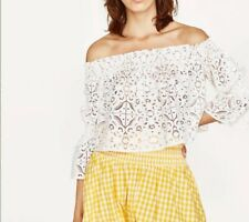 ZARA Collection Women's Off Shoulder Blouse Top  White Laced Size Small