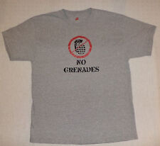 "HANES SHORT SLEEVE GRAY  T-SHIRT ""NO GRENADES"" ON FRONT      SIZE L       K#6318"