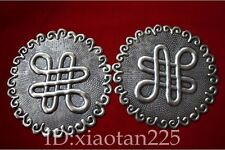 minority Handmade Miao Silver Cicada Bell Clothes hanging decoration Pair W1575