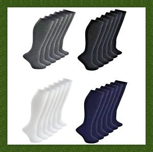 3 Pairs of Girls Plain Knee High School Socks Cotton Rich Black Navy Grey White