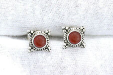 One Pair 4mm Round Carnelian Agate Sterling Silver Cabochon Cab Gem Stud Earring