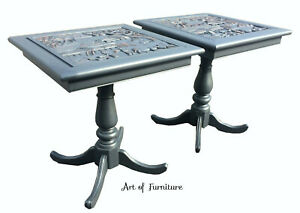 2 Unique Asian Carved Coffee Side End Pub Lamp Tables hand painted Upcycled