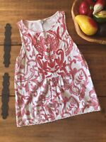 Lucky Brand Women's S Embroidered Tank Top Blouse Boho Red White