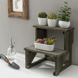 MyGift 2 Tier Rustic Dark Gray Wood Flower Pot Planter Stand Riser Display Shelf
