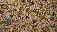 """Vintage Cotton Fabric GOLD,BROWN,PINK FLORAL & BIRDS ON PALE GOLD 1 Yd/36"""""""