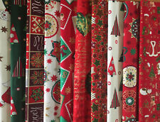 "CHRISTMAS 100% COTTON FABRIC 10"" RED GREEN CREAM CHARM SQUARES CRAFT PATCHWORK"
