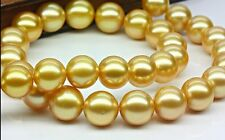 "HUGE 18""11-12MM NATURA SOUTH SEA GENUINE GOLD PEARL NECKLACE PERFECT ROUND 6048"