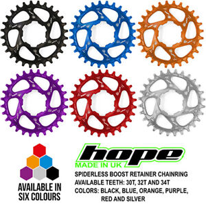 Hope Spiderless Boost Retainer Ring Chainring - 30T 32T 34T - All Colors - New