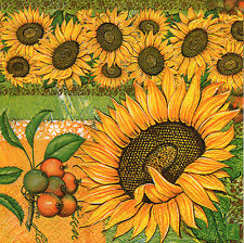 4 Motivservietten Servietten Napkins Tovaglioli Blumen Sonnenblumen (877)