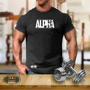 Alpha T Shirt Gym Clothing Bodybuilding Training Workout Exercise MMA Men Top