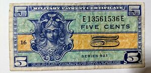 US 5 Cents ¢ 1954 Military Payment Certificate Bank Note Series 521