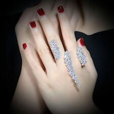 AAA Zircon Double Finger Ring Handmade Unique Design Fashion Women Gift R1058