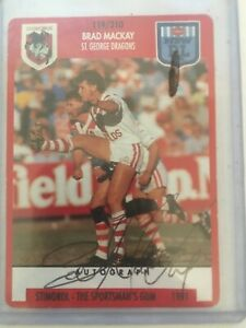 1908 1991 NSW STIMOROL Rugby League No119 Signed By Brad Mackay St FAMOUS RARE