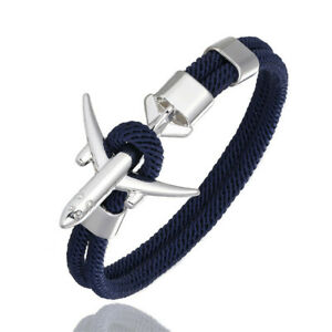 Rope Airplane Anchor Bracelet Stainless Steel Charm Air Force Bangle Men Sport