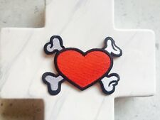 Red Heart Crossbones Bone Tattoo Girl Biker Club  Iron On Patches Patch