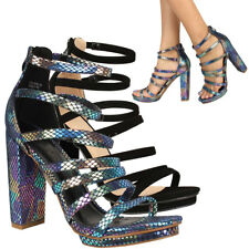 NEW Strappy Cage Open Toe Gladiator Pump Sandal Chunky High Heel Low Platform