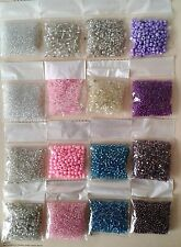 16 Packs Seed & Bugle Beads AVG 12 Grams a Pack Crystal Pink Turq Purple
