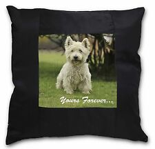 Westie 'Yours Forever'  Black Border Satin Feel Cushion Cover With , AD-W10y-CSB