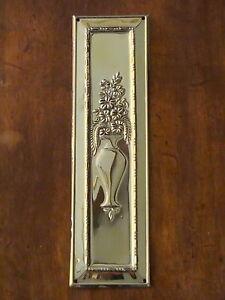 RECLAIMED BRASS ARTS & CRAFTS FINGER DOOR PUSH PLATES FINGERPLATE HANDLES KNOBS