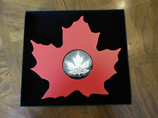 2015 Canada Pure Silver Maple Leaf Shaped Proof Coin Wooden Display Case, No Tax