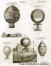 Illustration of Hot Air Balloons - circa 1800 - Steampunk Print