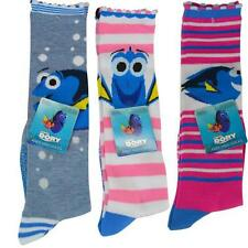 3 Pairs Knee High Socks Assorted Girl Dory Nemo Size 6-8 Pink Blue Gray NEW