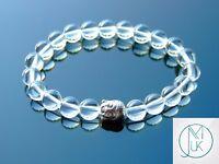 Buddha Rock Crystal Natural Gemstone Bracelet 6-9'' Elasticated Healing Stone