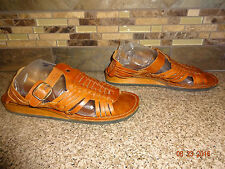 Vintage Womens Sz 7.5-8 Hush Puppies Brown Woven Sandals Shoes Made in India