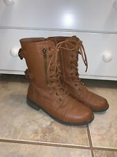 Womens Military Boots Ladies Army Combat Lace Up Flat Biker Zip Buckle Brown 9