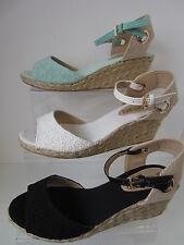 Ladies White/Mint/Black Spot On Wedge Sandals UK Sizes 3 - 8 F2248