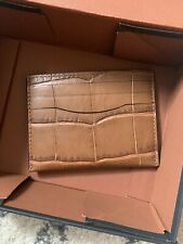 COACH NWT AND BOX CAMEL COLOR LEATHER CROCODILE SMALL CARD WALLET AUTH 26008