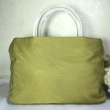 PRADA Green Nylon Lucite Clear Handles Small Tote Hand Bag