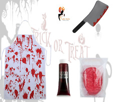 Men's SCARY BUTCHER Halloween Fancy Dress Horror Animal Apron Costume Outfit Lot