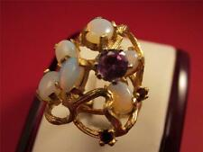 Vintage Retro Large Solid 14k Solid Gold Pink Sapphire Fire Opal Ring