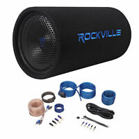 """Rockville RTB10A 10"""" 500w Powered Subwoofer Bass Tube+Bass Remote + Amp Kit"""