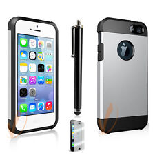 iPhone 5S 5, Dust Resistant Shockproof Aluminum Armor Metal 2-Layers Cover Case