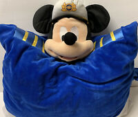 Disney Mickey Mouse Blue Large Pillow Pet Disney Cruise Line Captain Plush RARE