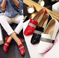 Ladies New Patent Leather Round Toe Rhinestone Flats Low Heels Loafers Shoes Sz