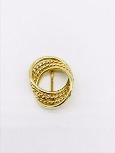 Tiffany & Co 14k Yellow Gold Twisted Rope Circle Pin/Brooch
