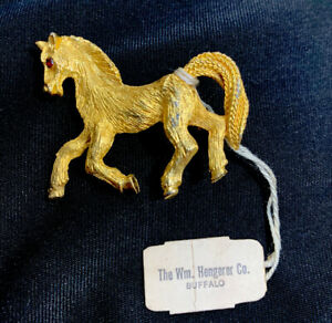 Vintage Horse Pin Brooch Gold Tone  NWT Red Stone Eye