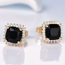 18 K Yellow Gold Filled 7 MM Black Cubic Zirconia Stud Earrings